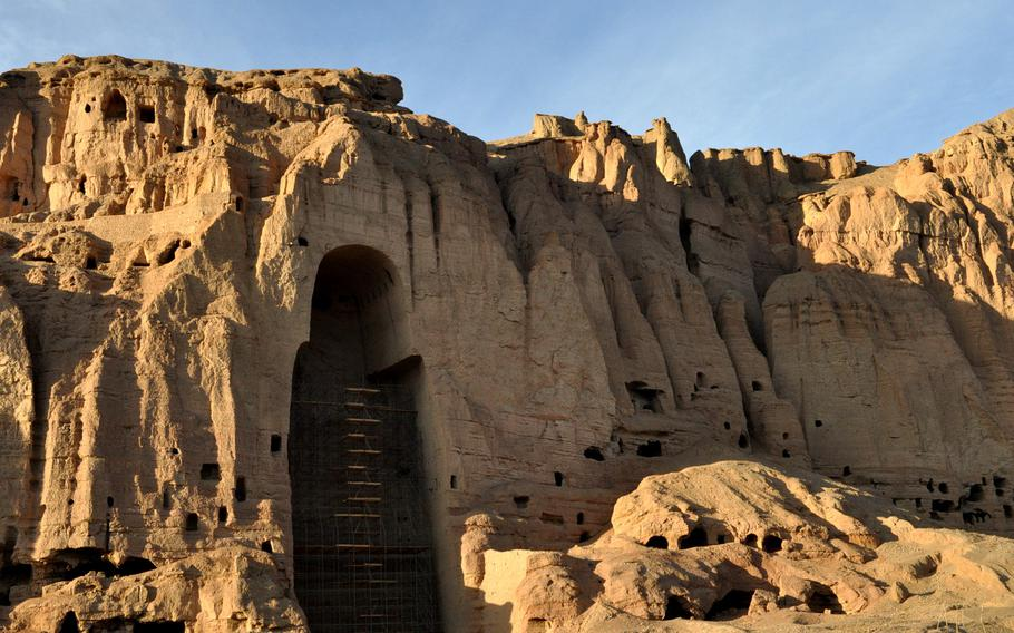 The largest of the three famed Buddhas of Bamiyan, Afghanistan, which were destroyed by the Taliban in 2001. This Buddha was more than 170 feet high. The scaffolding is in place to keep the walls from collapsing.