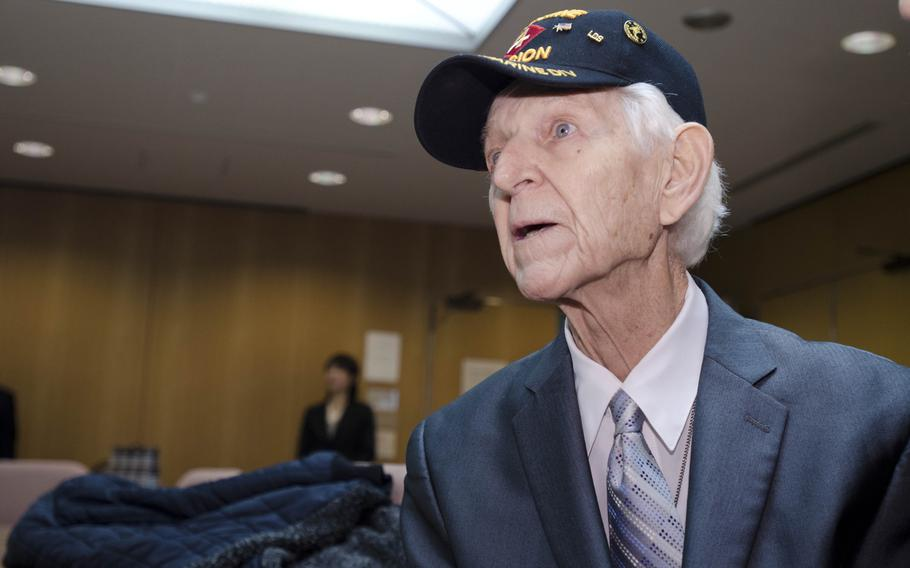 Kenneth Udstad, former Marine and World War II veteran, made a trip to Japan on Dec. 6, 2013, to return items he recovered from deceased Japanese soldiers.