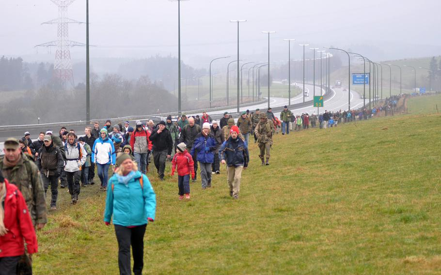 Thousands of re-enactors and spectators decended on the town of Bastogne, Belgium on Dec. 14, 2013 to commemorate the Allied victory in the Battle of the Bulge during World War II. Participants could choose to walk three distances -- 7, 13 and 22 kilometers.