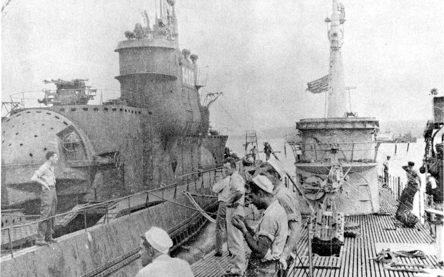 The USS Blower, right, in Tokyo Bay next to captured Japanese submarine I-400, circa September 1945.