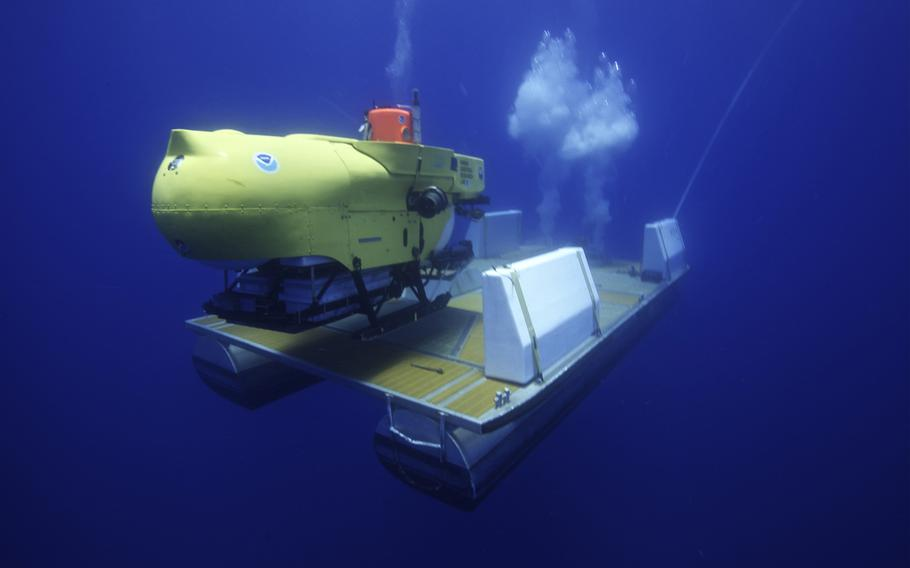 The Hawaii Undersea Research Laboratory Pisces V deep-diving manned submersible.
