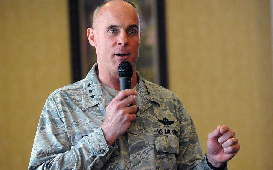 Lt. Gen. Craig Franklin, commander of the Kaiserslautern Military Community and 3rd Air Force, at a town hall meeting in Kaiserslautern, Germany, June 1, 2012.