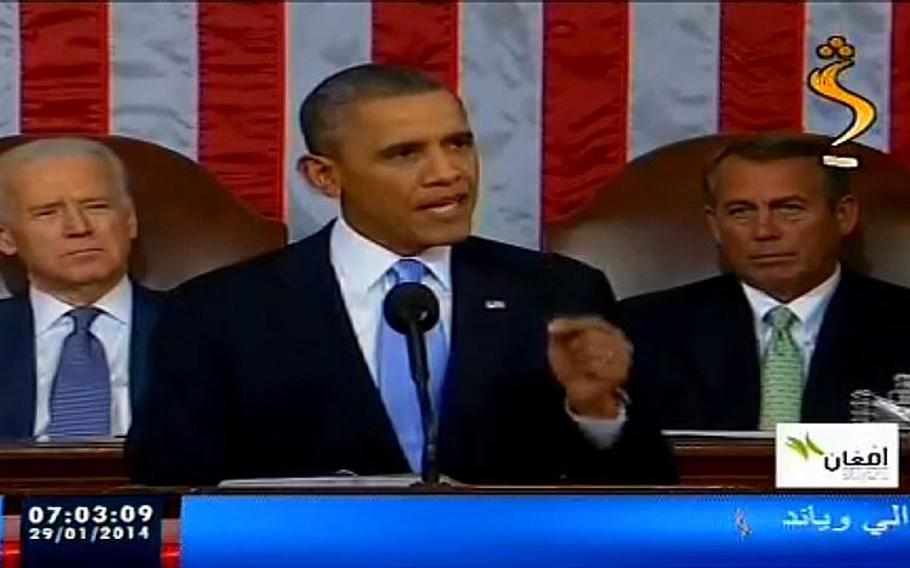 A screen grab taken from a broadcast by the Afghanistan television station Shamshad shows President Barack Obama giving his State of the Union speech. Many Afghan TV stations aired the speech in full.