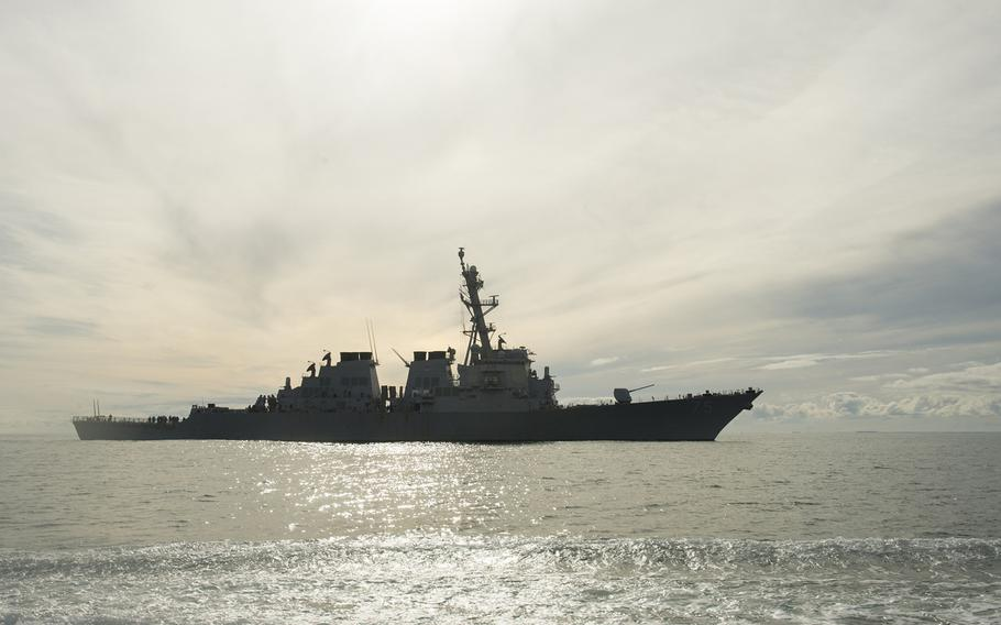 The Arleigh Burke-class guided-missile destroyer USS Donald Cook steams off the coast of Norfolk, Va, on its way to Rota, Spain, where it arrived Feb. 11, 2014. It is the first of four U.S. Navy destroyers to form the centerpiece of Europe?s missile defense shield there.