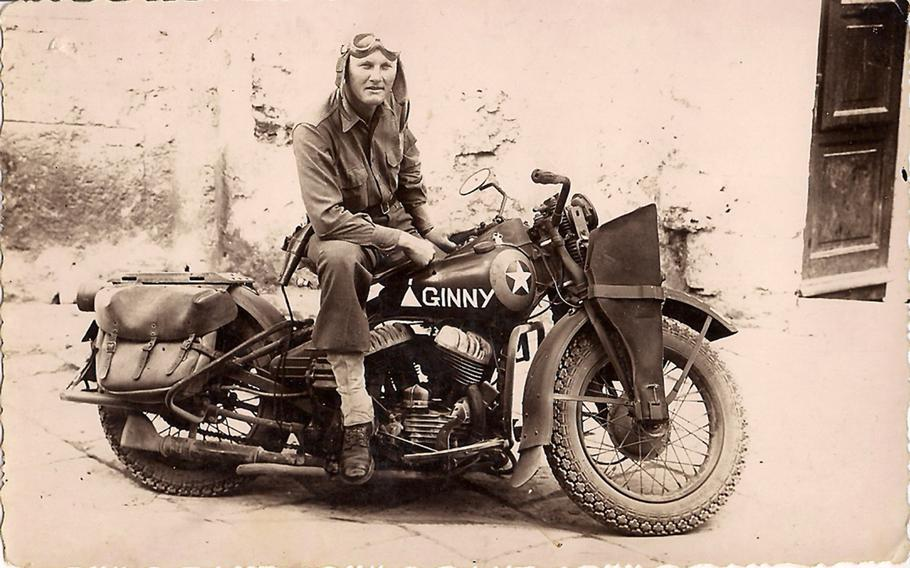 Cpl. William Virgil Burton, shown here in Sicily in 1943, was visiting the Barber Vintage Motorsports Museum, in Birmingham, when he saw a 1942 Harley Davidson, identical to the one he rode while a soldier in World War II.