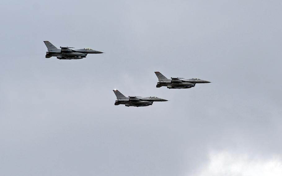 A trio of F-16s from Spangdahlem Air Base, Germany do a flyby over Ramstein Air Base following the memorial service for  Airman 1st Class Zachary Cuddeback in 2011. Under a cost-cutting scenario laid out in a Rand Corp. study, savings could be achieved by relocating the Germany-based 52nd Fighter Wing from Spangdahlem Air Base, Germany to Aviano Air Base in Italy, putting it closer to potential hot spots in Africa and the Mideast.
