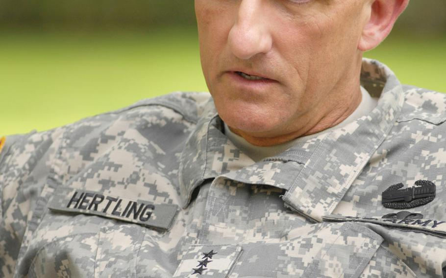 """Retired Lt. Gen. Mark Hertling, then-commander of U.S. Army Europe, said during an interview with Stars and Stripes in 2011 that USAREUR's mission in Europe is still vital. Commenting on a recent Rand Corp. report on possible cost-saving measures in Europe, Hertling said """"Part of the problem is there's no constituency for the forces in Europe. But I hope common sense and a more strategic view will eventually prevail."""""""