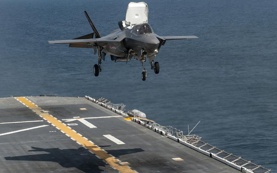 An F-35B Lightning II aircraft takes off from the amphibious assault ship USS Wasp in the Atlantic Ocean during the 2nd at-sea F-35 developmental test event Aug. 14, 2013. The F-35B is the Marine Corps variant of the Joint Strike Fighter.