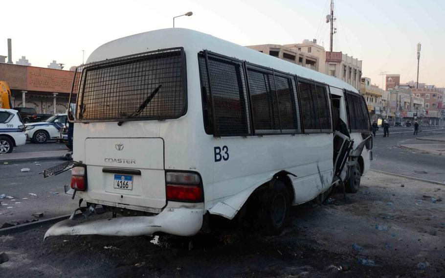 An explosion damaged a bus transporting police officers in Daih, Bahrain, on Feb. 14, 2014. U.S. military officials have issued a warning to servicemembers and personnel in the island nation regarding the risk of bomb attacks.