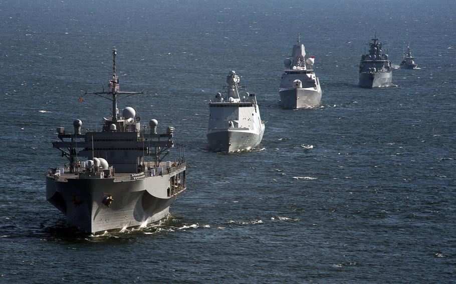 The USS Mount Whitney leads a formation during exercise Baltic Operations (BALTOPS) in June, 2013. The U.S. is crafting plans to deploy rotational ground troops and naval forces into the Baltics as part of an effort to reassure allies shaken by Russia's intervention in nearby Ukraine.
