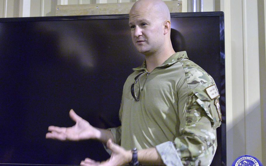 Capt. Keegan Owens, a combat rescue officer with the 82nd Expeditionary Rescue Squadron at Camp Lemonnier, Djibouti, talks about the pararescue mission, Thursday, April 3, 2014.