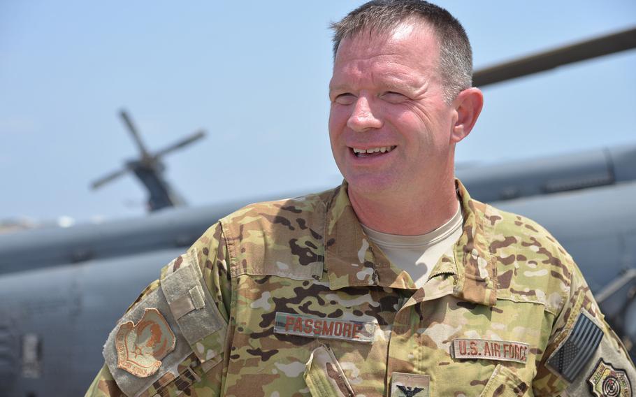 Capt. Kelly Passmore, commander of the 449th Air Expeditionary Group at Camp Lemonnier, Djibouti, April 1, 2014.