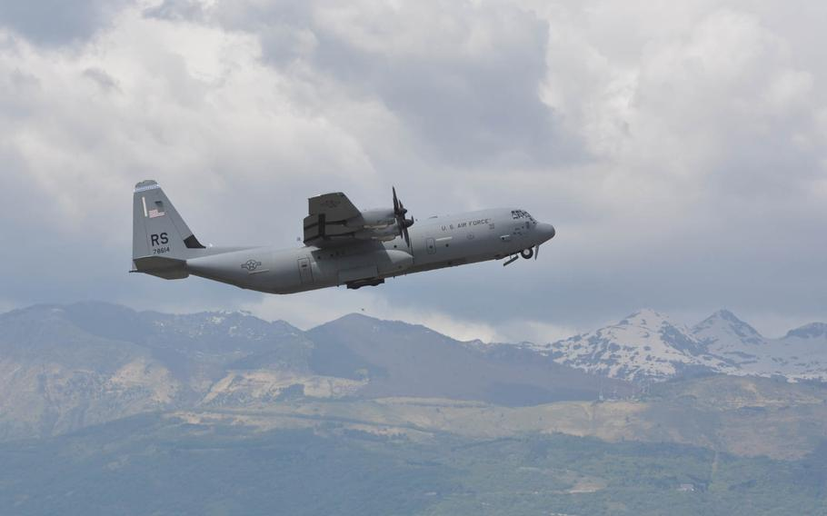 The second of two C-130 cargo planes from Ramstein Air Base, loaded with servicemembers from the 173rd Infantry Brigade Combat Team based in Vicenza, Italy, departs Aviano Air Base, Italy for Poland on Wednesday, April 23, 2014.