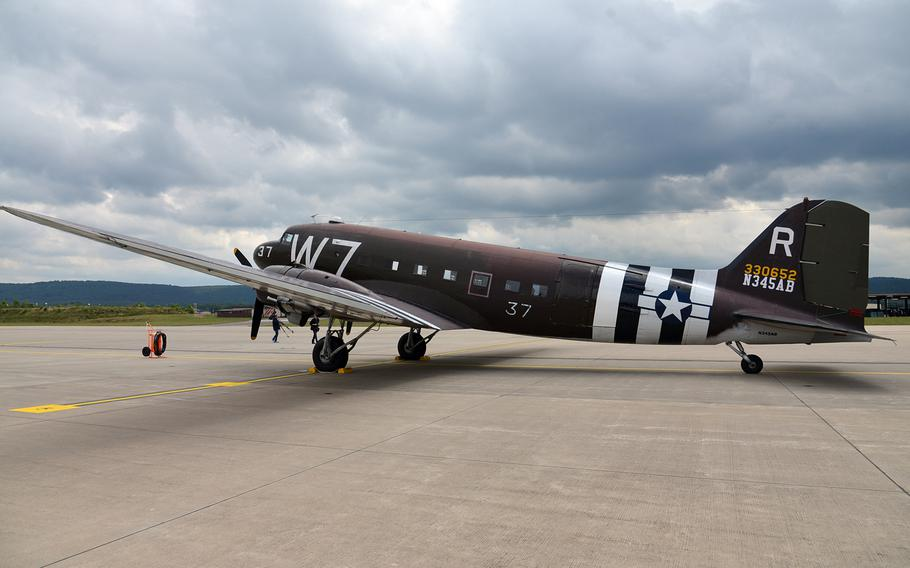 Except for the large serial numbers needed to fly over today's Europe, the markings on Whiskey 7, a vintage C-47, are like the ones used when it flew on D-Day, carrying paratroops of the 82nd Airborne Brigade. The plane flew from the United States to Europe and made a stop at Ramstein Air Base, on its way to Normandy for the 70th anniversary commemorations of the D-Day invasion.