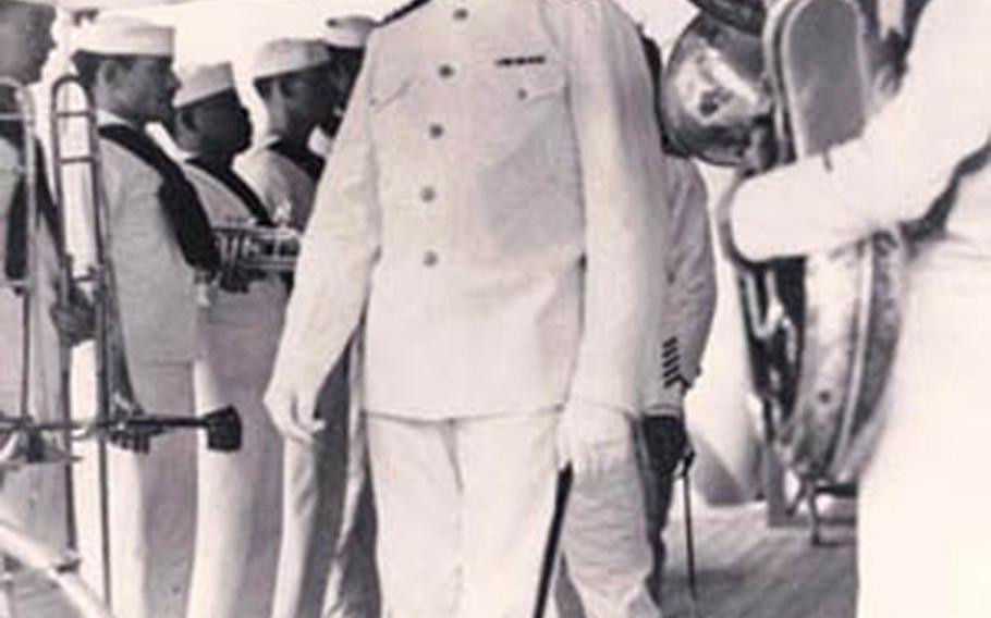 The USS Houston band in dress whites seen here being reviewed by Capt. A. H. Rooks when he first took command in Aug. 1941. Rooks would be awarded the Medal of Honor for the Houston's final battle in 1942.