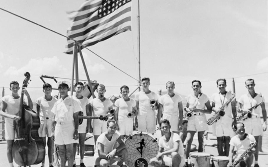 The USS Houston's swing band poses for a photograph on the ship's fantail sometime between November 1940 and Sept. 19, 1941. The photo was obtained by the Houston Survivors Association from the Australia War Memorial collection. The band leader shown here is Sidney M. Zeramby, who was not onboard the ship when she was sunk in 1942. The photograph shows three trumpet players in the back row.