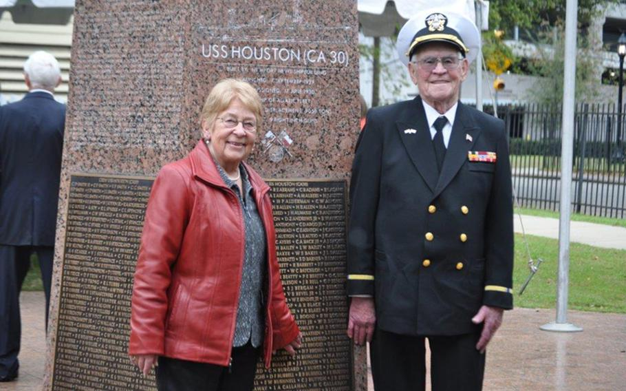 Howard Brooks, right, and his wife Silvia at the USS Houston Memorial, located at Sam Houston Park in Houston, Texas. Brooks not only miraculously survived the fighting onboard the Houston during World War II but also years as a Japanese prisoner of war.