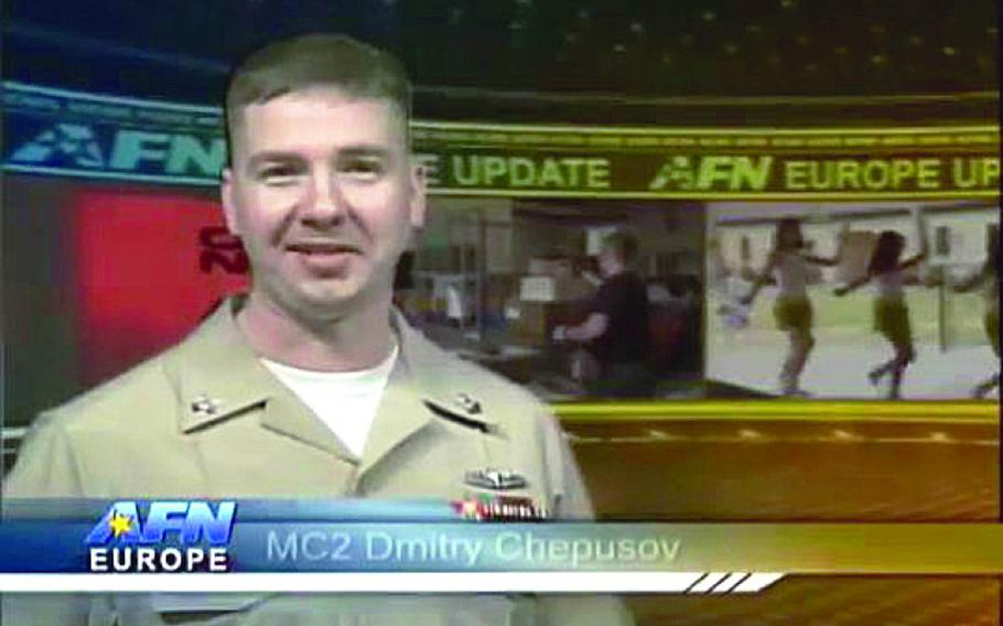 Video screen grab of Petty Officer 2nd Class Dmitry Chepusov, a Navy broadcaster for the American Forces Network Europe, who was found dead in a vehicle in Kaiserslautern, Germany, on Saturday, Dec. 14, 2013.