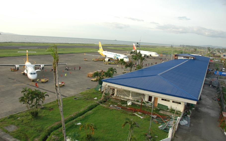 Repairs at Tacloban's airport, all but destroyed in last year's typhoon, are almost complete.