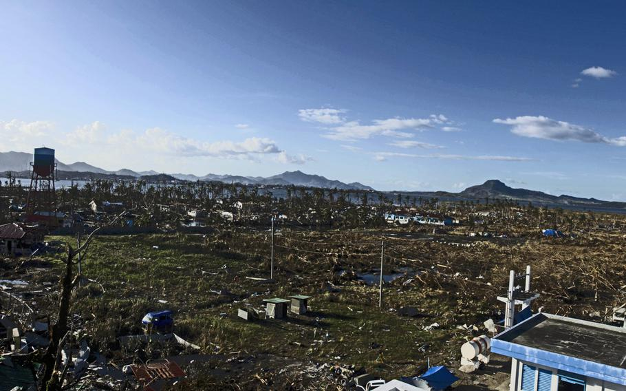 Typhoon Haiyan destroyed the area surrounding Tacloban Airport, Tacloban, Philippines, leaving thousands of victims homeless.