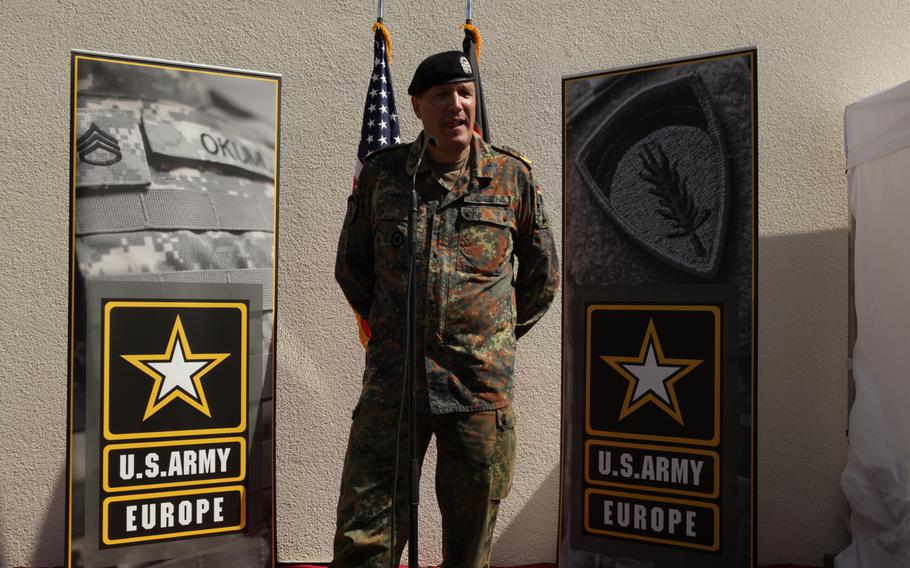 German Brig. Gen. Markus Laubenthal, U.S. Army Europe's new chief of staff, speaks to members of the media after being formally welcomed as the command's first non-American chief of staff, on Aug. 28, 2014.