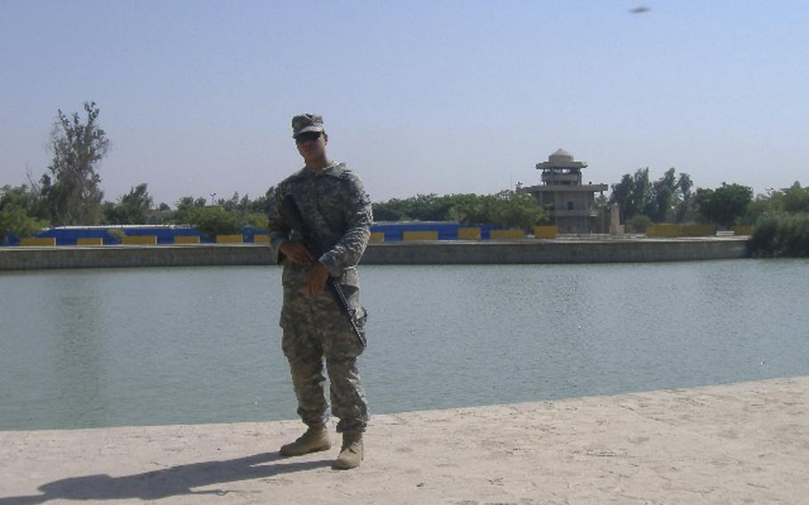 Chris Melendez in Iraq before he was wounded in an IED attack toward the end of 2006.