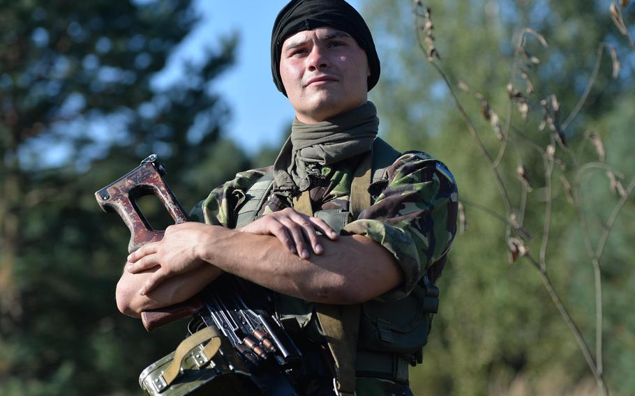 Ukrainian army cadet Mykhailo Kutniy was among those portraying an opposing force that ambushed American soldiers from the 173rd Airborne Brigade, Thursday, Sept. 18, 2014, at Exercise Rapid Trident near Yavoriv, Ukraine.