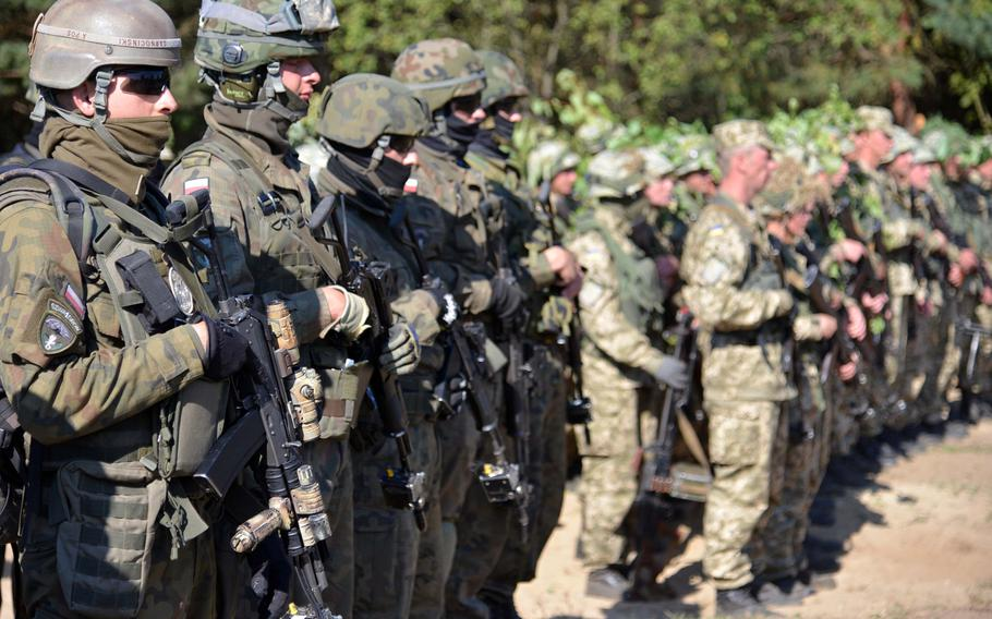 Polish and Ukrainian troops stand in formation after completing a cordon-and- search scenario at Exercise Rapid Trident near Yavoriv, Ukraine, Friday, Sept. 19, 2014. It was media and VIP day at the exercise,  where about 1,300 troops from 15 countries are taking part.
