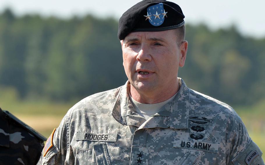 Lt. Gen. Ben Hodges, commander NATO Allied Land Command, talks to the media  at Exercise Rapid Trident near Yavoriv, Ukraine, Friday, Sept. 19, 2014.
