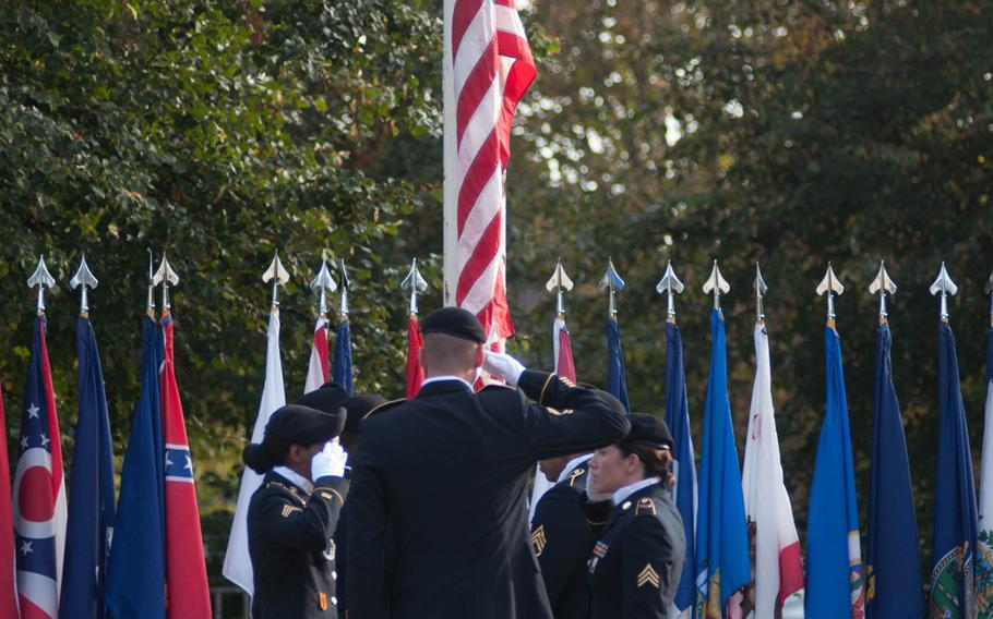 The American colors are lowered for the final time at the Ledward Barracks in Schweinfurt. The military base there closed after 70 years of service, Sept. 19, 2014.