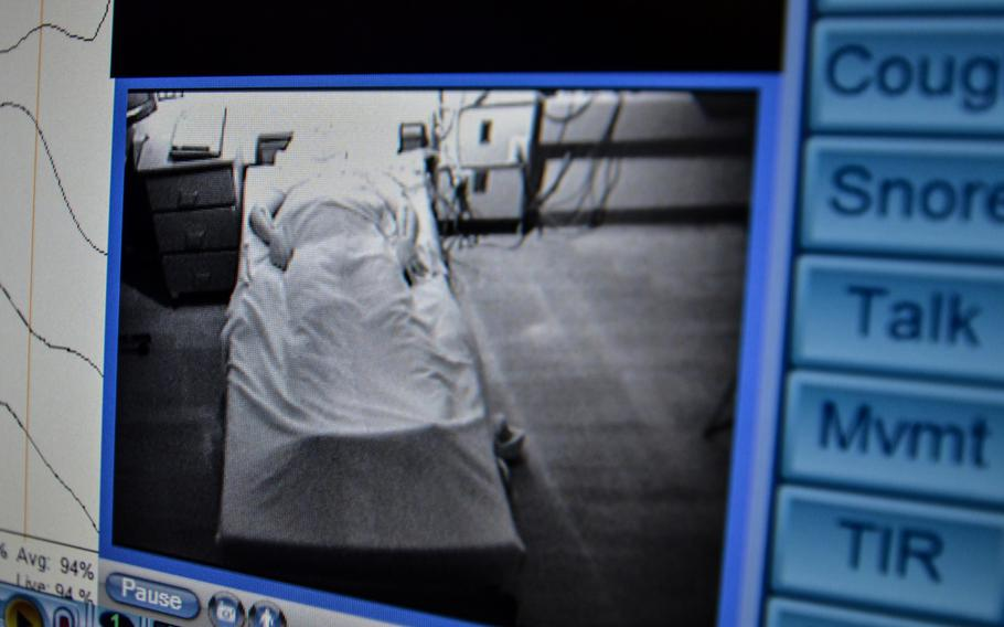 An infrared light illuminates a soldier during a sleep study at Madigan Army Medical Center, Joint Base Lewis-McChord, Wash., in 2013. A team of researchers at the hospital have proposed creating a new diagnosis for sleep disorder brought on by trauma.