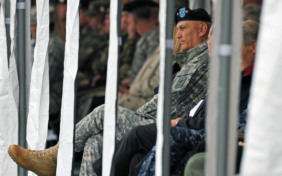 Army Chief of Staff Gen. Ray Odierno watches the U.S. Army Europe change-of-command ceremony in Wiesbaden, Germany, Wednesday, Nov. 5, 2014. Lt. Gen. Frederick ''Ben'' Hodges took the reins from Lt. Gen. Donald Campbell Jr. at the ceremony.