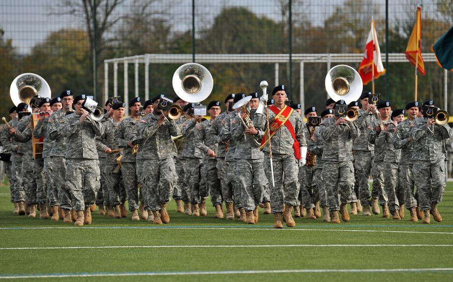 The U.S. Army Europe band marches on the field during the U.S. Army Europe change-of-command ceremony in Wiesbaden, Germany, Wednesday, Nov. 5, 2014.
