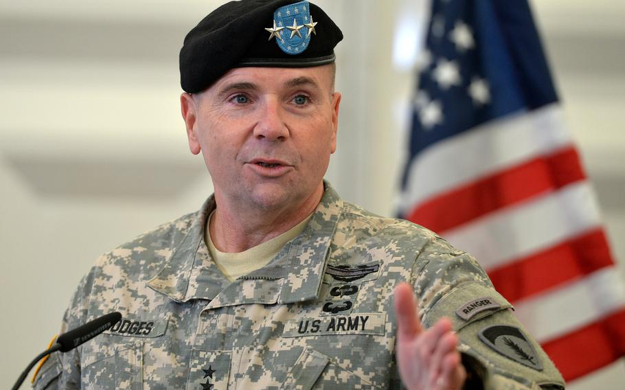 Incoming U.S. Army Europe commander Lt. Gen. Frederick ''Ben'' Hodges talks to the media following the USAREUR change-of-command ceremony in Wiesbaden, Germany, Wednesday, Nov. 5, 2014. Hodges took the USAREUR reins from Lt. Gen. Donald Campbell Jr. at the ceremony.