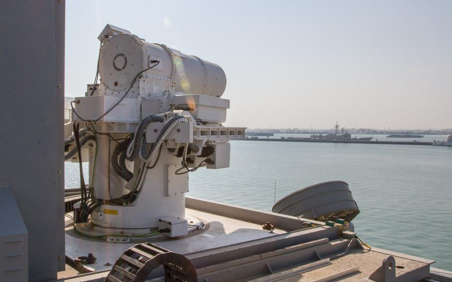 The Laser Weapon System installed aboard the afloat forward staging base USS Ponce, Nov. 21 2014. The Ponce is forward deployed to the U.S. 5th Fleet area of responsibility.
