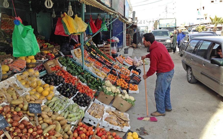 A fruit and vegetable market in Jordan's southern city of Maan, considered a hotspot for Islamic radicalism, on Jan.24, 2015. The city has seen violent pro-Islamic State demonstrations in the past year.