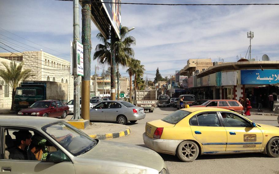 Street traffic in Jordan's southern city of Maan, considered a hotspot for Islamic radicalism, on Jan.24, 2015. The city has seen violent pro-Islamic State demonstrations in the past year.