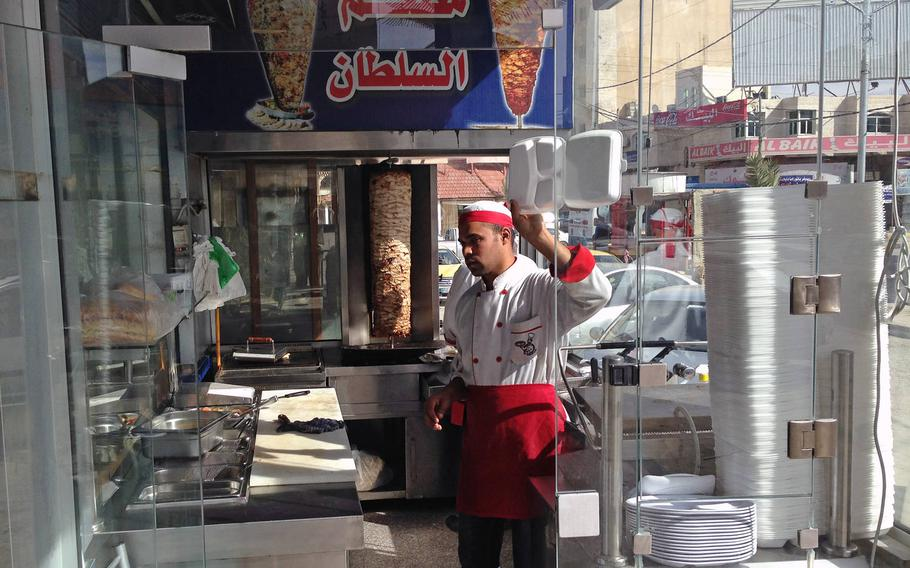 A shawarma shop in Jordan's southern city of Maan, considered a hotspot for Islamic radicalism, on Jan.24, 2015. The city has seen violent pro-Islamic State demonstrations in the past year.