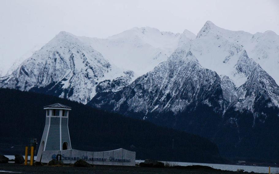 Stunning mountains flank the harbor at Seward, Alaska.