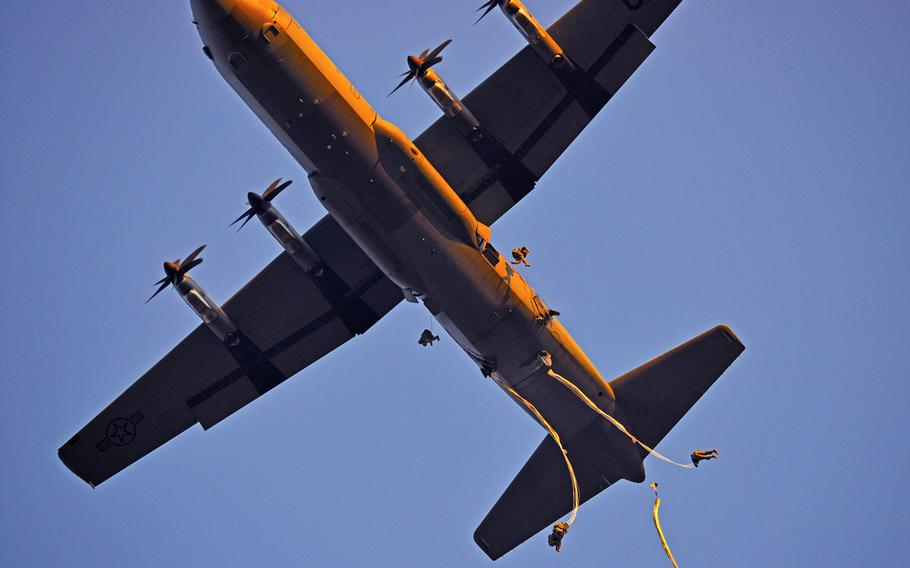 Paratroopers assigned to the 173rd Brigade Support Battalion, 173rd Airborne Brigade, conduct an airborne operation from a U.S. Air Force 86th Air Wing C-130 Hercules aircraft Feb. 19, 2015 at Juliet Drop Zone in Pordenone, Italy.