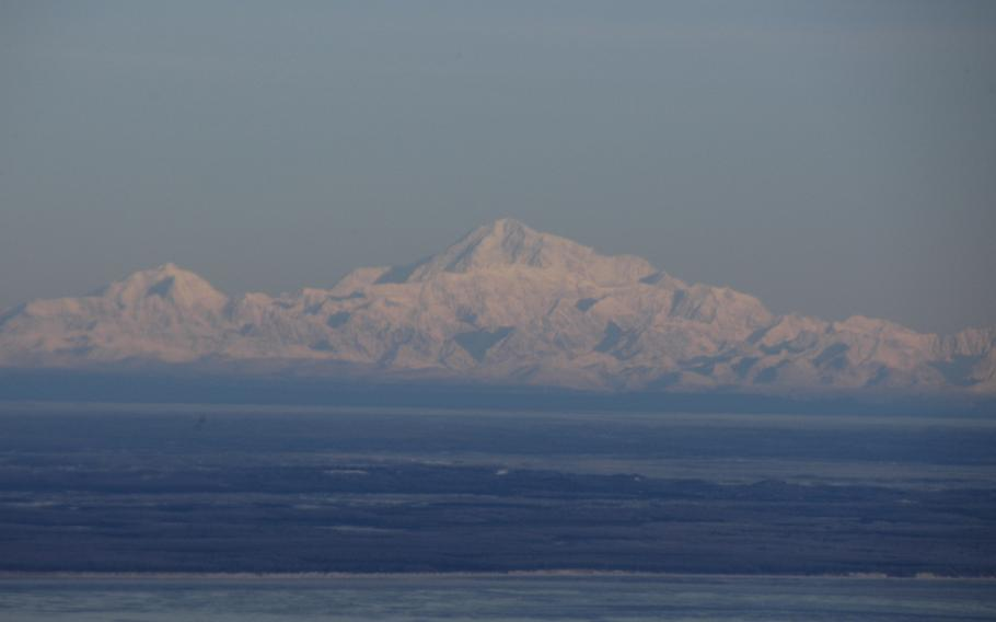 Mount McKinley, the highest mountain in North America, as seen from a hill overlooking Anchorage on a clear day in February 2015.