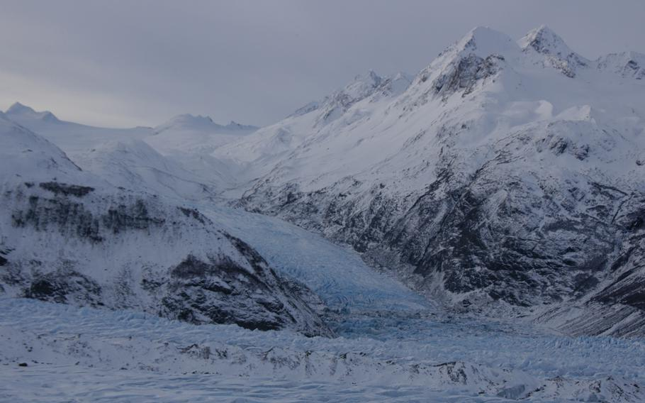 View of a glacier from an Alaskan Army National Guard Black Hawk helicopter.