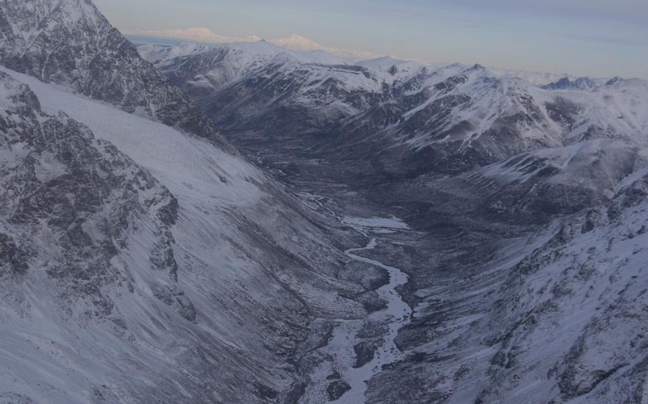 Mountains near Anchorage as seen from an Alaskan Army National Guard Black Hawk helicopter.