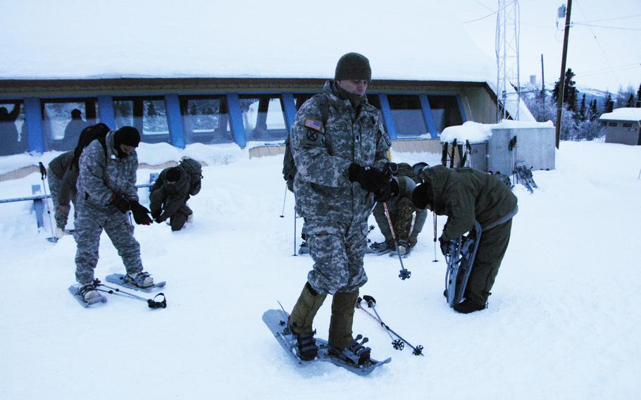 Skis or snowshoes are essential winter gear for moving across ranges at Black Rapids Training Site, Alaska.