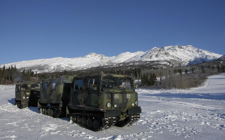 The Army uses tracked SUSVs (small unit support vehicles)to move people and supplies around in the snow at Black Rapids Training Site, but training there is focused on dismounted soldier skills.