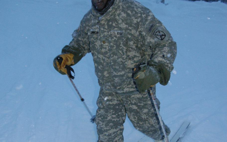 Maj. Philip Johnson, 36, of the 10th Mountain Division, practices cross country skiing at Black Rapids Training Site, Alaska in February.