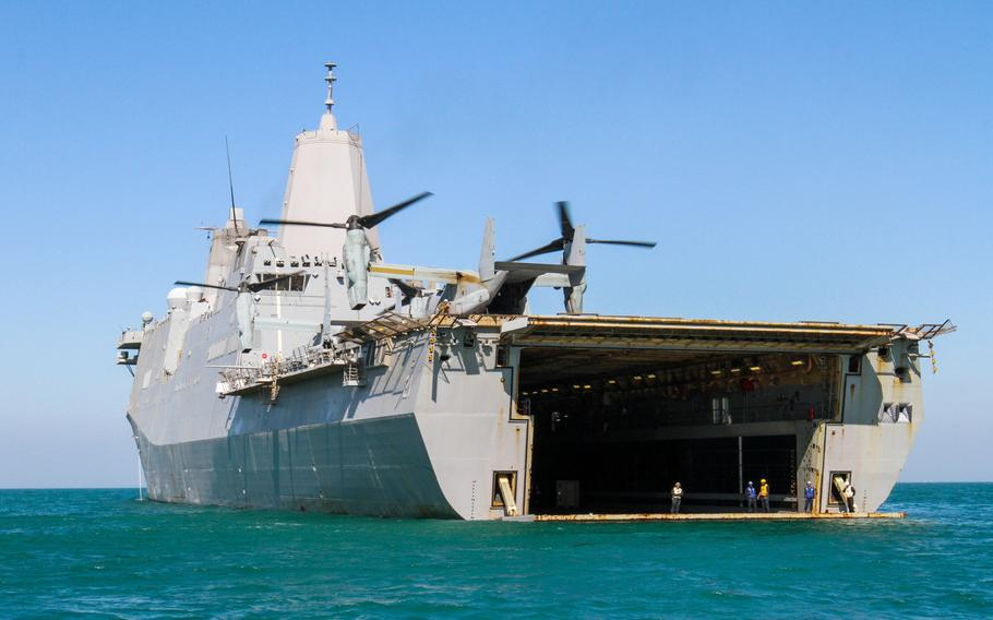 The amphibious transport dock ship USS New York shown positioned off the coast of Kuwait, Feb 27, 2015.