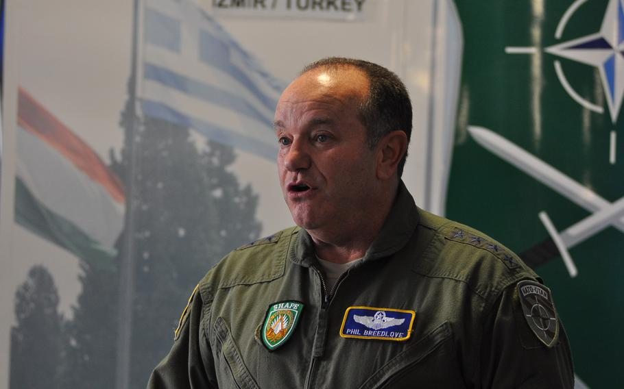 Gen. Philip Breedlove, NATO Supreme Allied Commander Europe, speaks to reporters Tuesday, March 10, 2015, at the NATO LANDCOM Corps Commanders' Conference at Ramstein Air Base, Germany. More than 140 participants from nearly all of the alliance's 28 member countries gathered to discuss the way ahead for NATO's ground forces amid a rapidly-changing security environment in Europe and elsewhere.