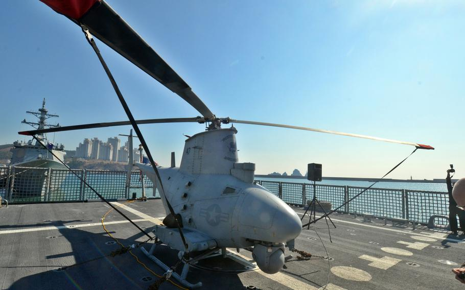 The MQ-8B Fire Scout unmanned helicopter, shown here aboard the USS Fort Worth on Saturday in Busan, saw action during the Foal Eagle exercise in water off South Korea this past week.