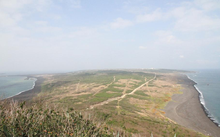 The view of Iwo Jima from atop Mount Suribachi on March 21, 2015.